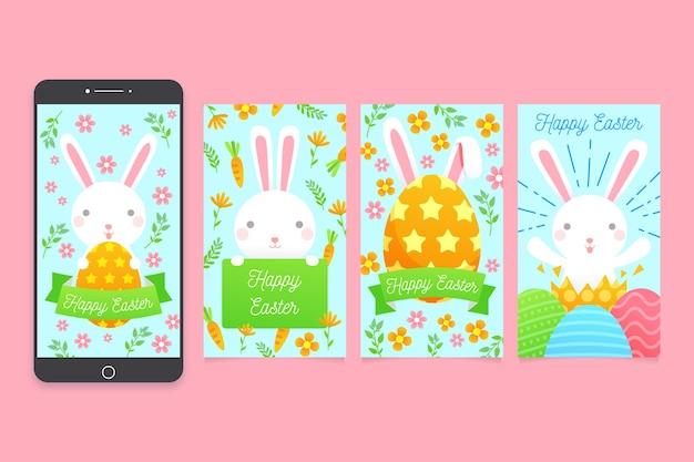 Пушистый кролик инстаграм пасхальная коллекция Бесплатные векторы