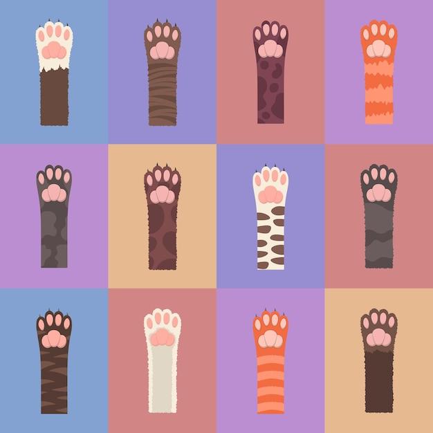 Набор лапы пушистые разноцветные кошки. бесшовный фон, разноцветные кошачьи лапы изолированы. Premium векторы