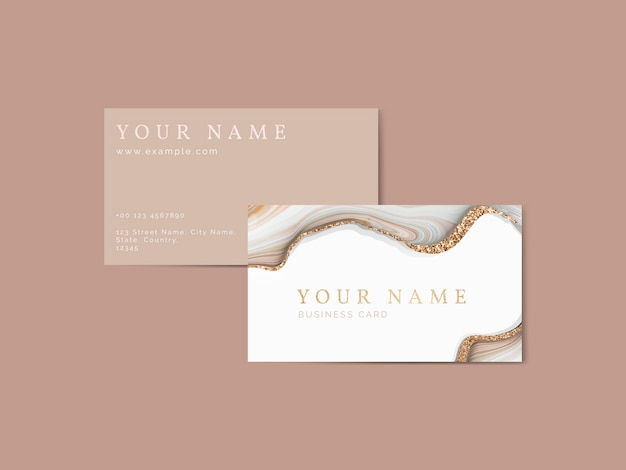 Fluid brush stroke on a business card template Premium Vector