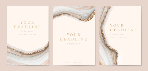 Fluid brush stroke cover template collection vectors Premium Vector