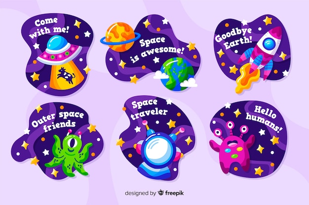 Fluid design space sticker collection Free Vector