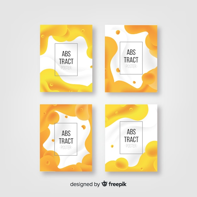 Fluid frame poster template collection Vector | Free Download