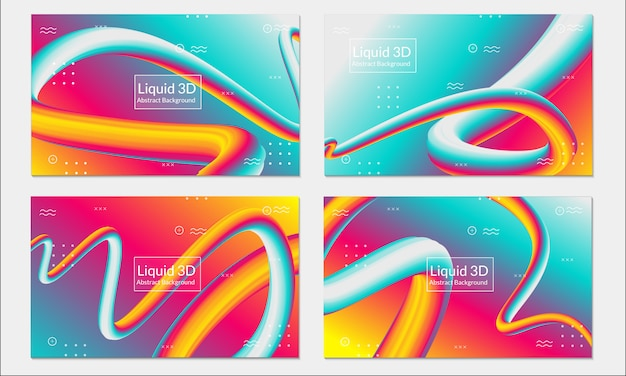 Fluid liquid colorful background set abstract Premium Vector