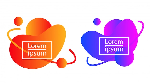 Fluid liquid gradient bubble blob abstract shape Premium Vector