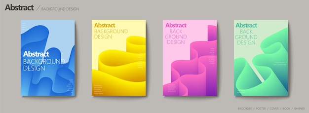 Fluid liquid style brochure, wavy and gradient color  set Premium Vector