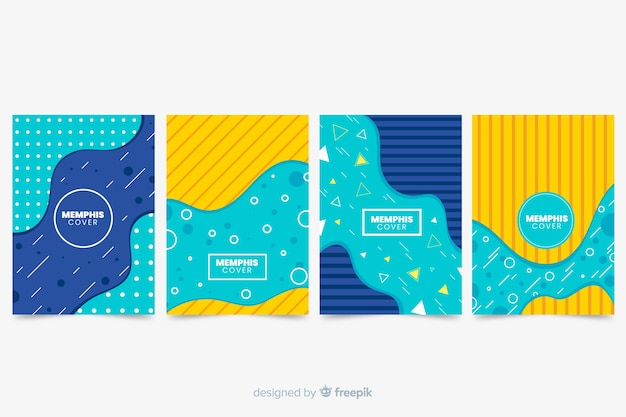 Fluid and memphis cover collection Free Vector