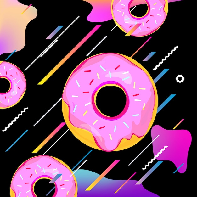 Fluid multicolored background with donuts Premium Vector