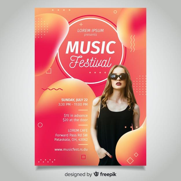 Fluid music festival poster Free Vector