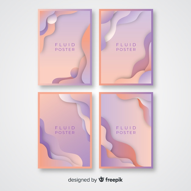 Fluid poster collection Free Vector