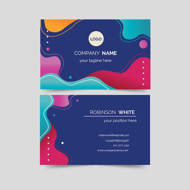 Fluid shapes colourful business card template Free Vector