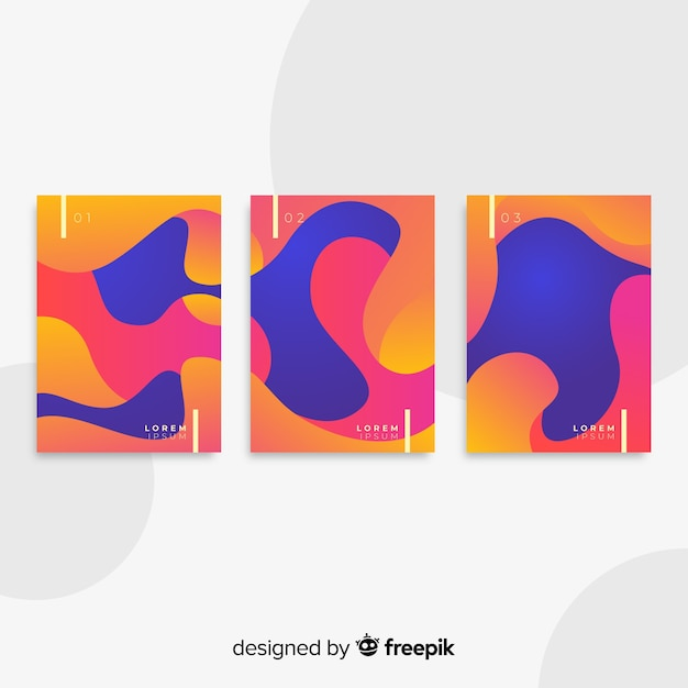Fluid shapes poster collection Free Vector