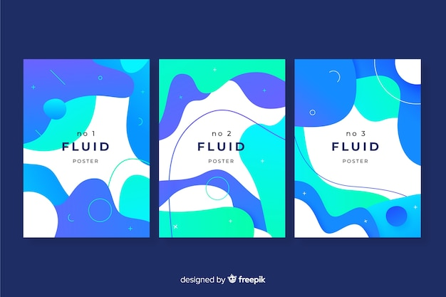 Fluid shapes poster pack Free Vector