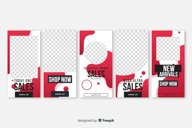 Fluid shapes sale instagram stories template pack Free Vector