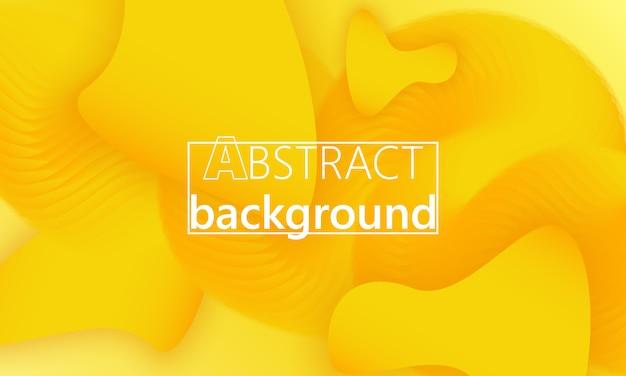 流体の形状。黄色の背景。流体の色。液体の形。インクしぶき。 Premiumベクター