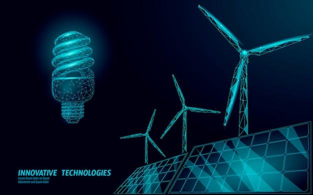 Fluorescent compact light bulb windmills idea business concept. Premium Vector