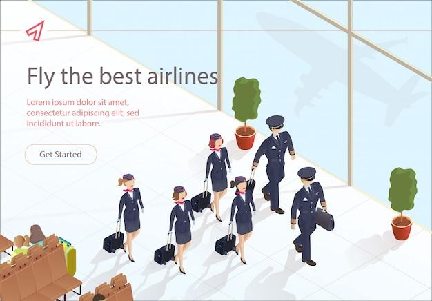 Иллюстрация fly best airlines aircraft crew. Premium векторы