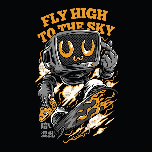 Fly high to the sky neon  illustration Premium Vector
