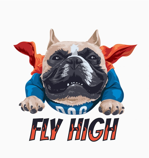 Fly high slogan with cartoon dog in cape illustration Premium Vector