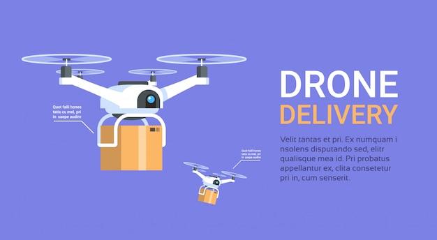 Дрон доставки баннер с шаблоном современные вертолеты с коробками fly Premium векторы