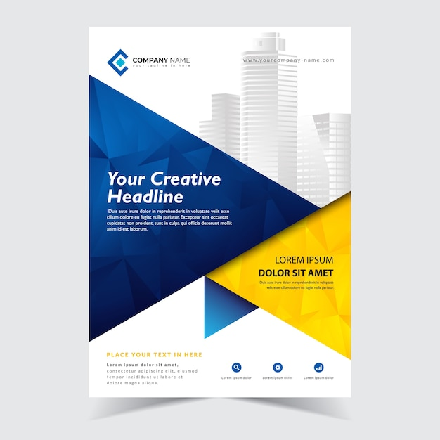 Flyer abstract template Premium Vector