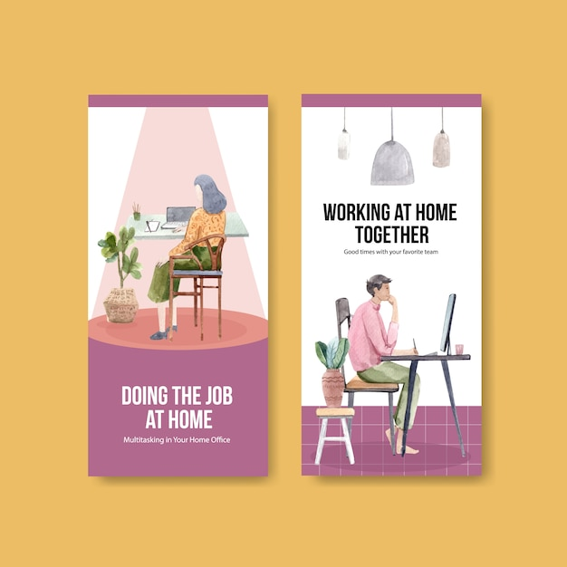 Flyer and brochure template design with people are working from home. home office concept watercolor vector illustration Free Vector