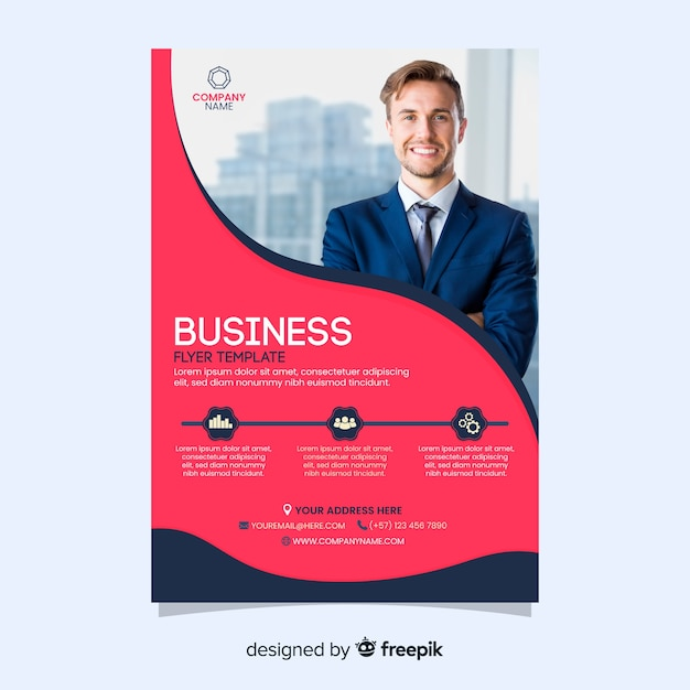 Flyer for businessman company template Free Vector