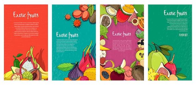 Коллекция флаеров с экзотическими тропическими фруктами. вертикальные фоны с местом для текста. Premium векторы