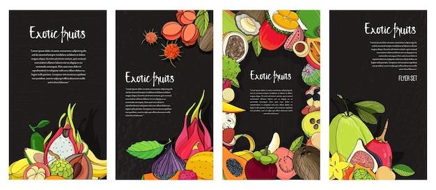 Коллекция флаеров с экзотическими тропическими фруктами. Premium векторы