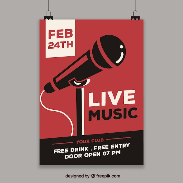 Flyer concept for live music party Free Vector