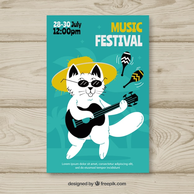 Flyer concept for music festival with cat Free Vector