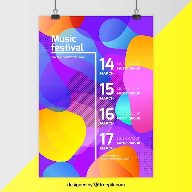 Flyer concept for music party with colorful shapes Free Vector