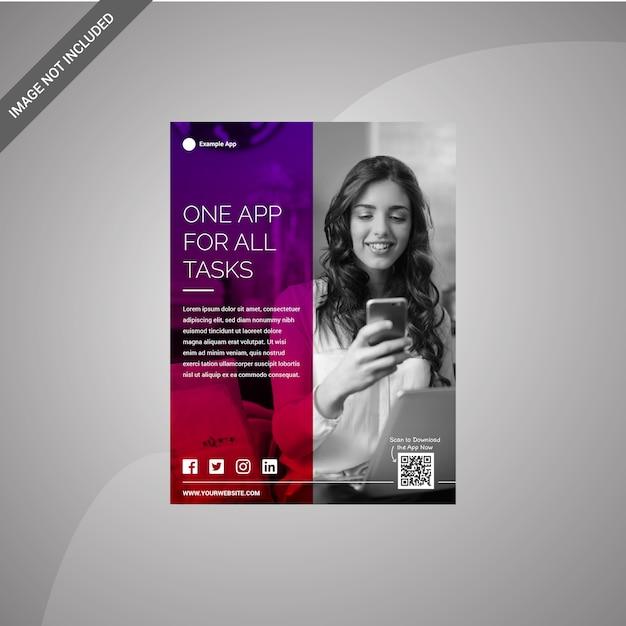 Flyer design template for app Premium Vector