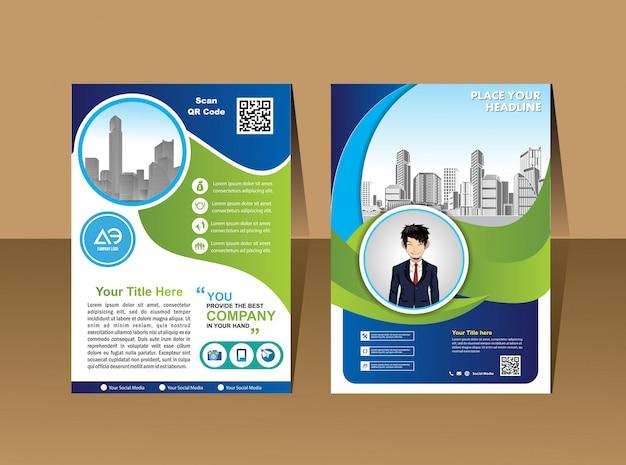 Flyer design template vector, leaflet presentation layout in a4 size Premium Vector