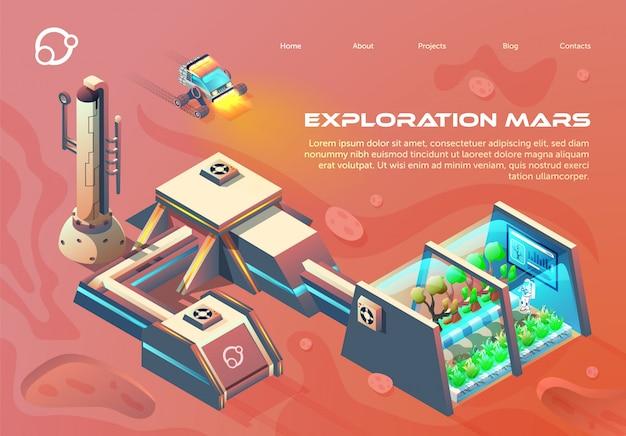 Flyer exploration mars lettering flat cartoon. Premium Vector