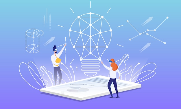Flyer idea building with virtual reality cartoon. Premium Vector