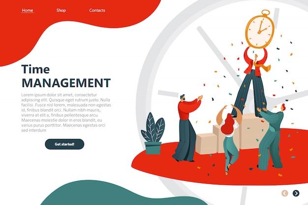 Flyer inscription time management cartoon flat. landing page web template Premium Vector