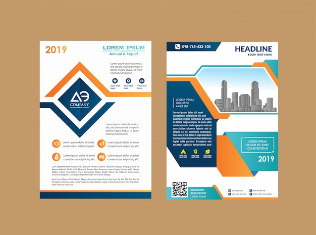 Flyer layout poster magazine annual report book booklet Premium Vector