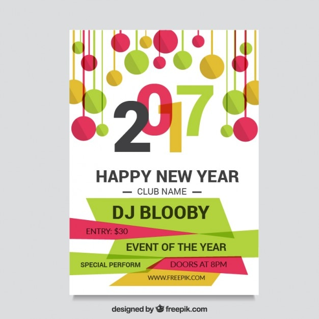 Flyer of happy new year 2017 with balls in flat design Vector | Free ...