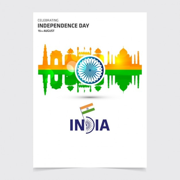 Flyer Of India Independence Day With Monuments Vector | Free Download