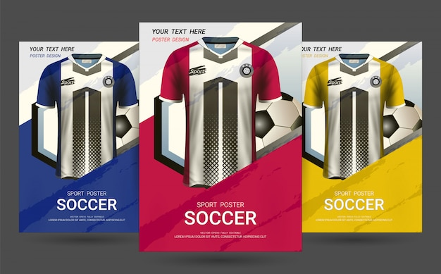 Flyer & poster cover design template with soccer jersey uniform. Premium Vector