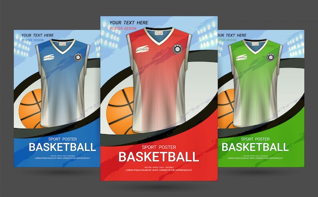 Flyer & poster cover template with basketball jersey design. Premium Vector