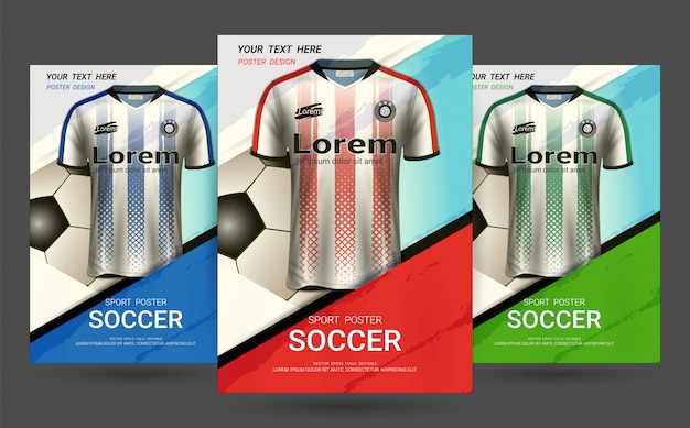 Flyer & poster cover template with soccer jersey design. Premium Vector