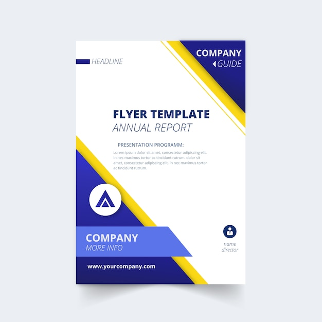 Flyer template for annual report Free Vector