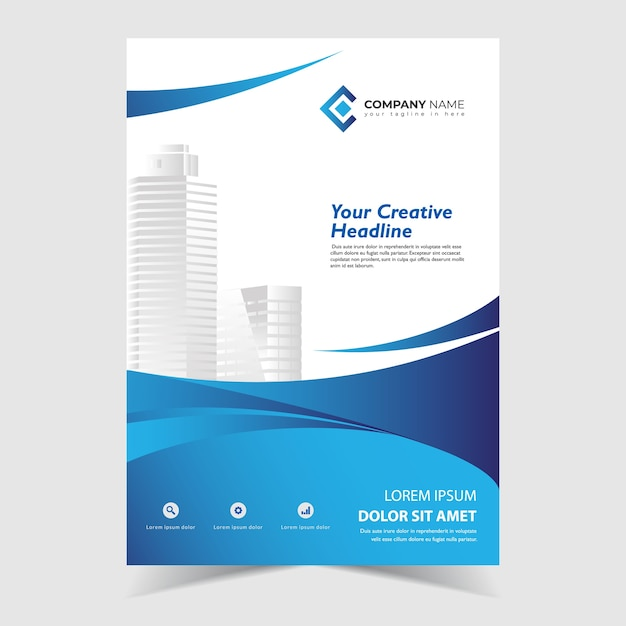 Flyer template design with blue wavy shapes design Premium Vector
