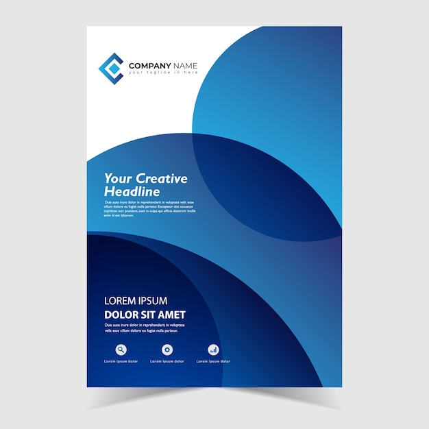 Flyer template design with circle blue wavy shapes design Premium Vector