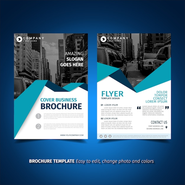 Flyer Vectors Photos and PSD files – Blue Flyer Template