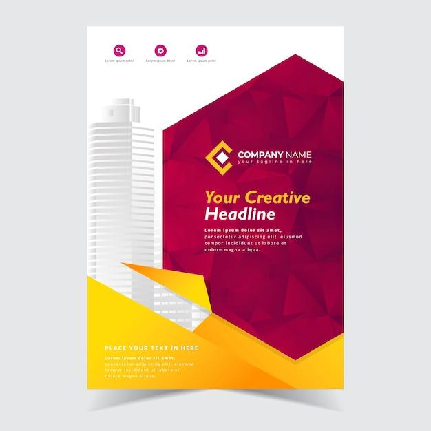 Flyer template design Premium Vector