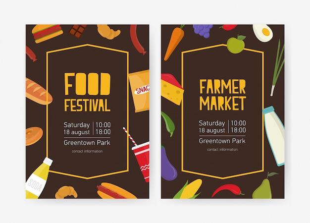 Флаер шаблон для кулинарного фестиваля или фермерского рынка украшен фруктами, овощами, закусками, молочными и хлебобулочными изделиями. красочная векторная иллюстрация для объявления о событии Premium векторы