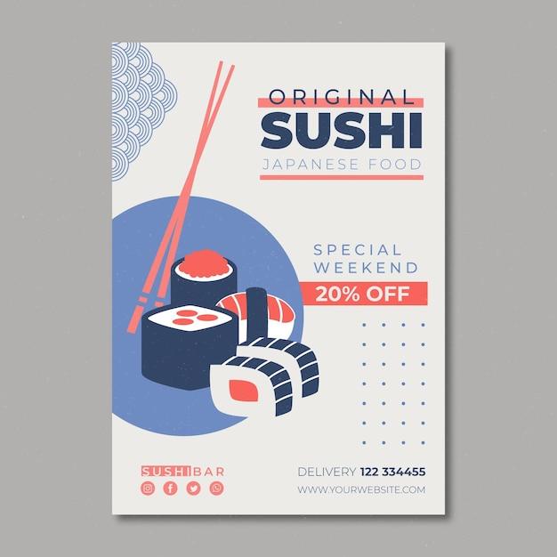 Шаблон флаера для суши-ресторана Бесплатные векторы