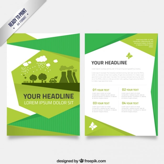 Flyer Template In Green Tones Vector | Free Download